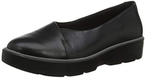 Clarks Un Balsa Go, Mocasines para Mujer, Negro Black Leather Black Leather, 38 EU