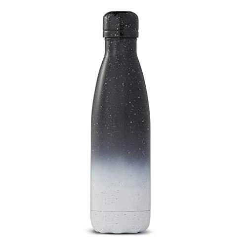 ZZTT Bouteille d'eau 500ml - Thermos à Vide Double paroi 24 Heures sur 24 Froide et 12 Heures à Chaud - Thermos en Acier Inoxydable étanche 0,5 Litre (Noir et Blanc)