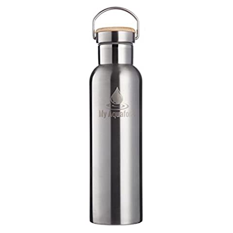 My AQUAFONA 600ml Stainless Steel DOUBLE WALLED Sports Water Bottle. Keeps drinks Hot or Cold (5 Borse Gallon Bag)