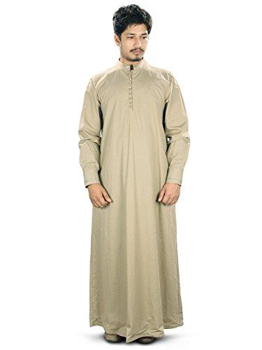 MyBatua Labib Cream Cotton Galabiyya Islamic Clothing, Mens Wear GM-025 (XX-Large)
