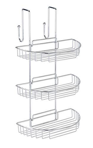 Wenko 3318810100 - Estantería para colgar en el baño, 3 estantes desmontables, 2 perchas, cromo (28 x 51 x 27,3 cm)