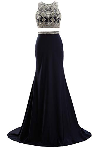 MACloth Women Two Piece Beaded Formal Evening Gown O Neck Sheath Long Prom Gown (EU38, Dark Navy) Ball Gown Scoop Neck