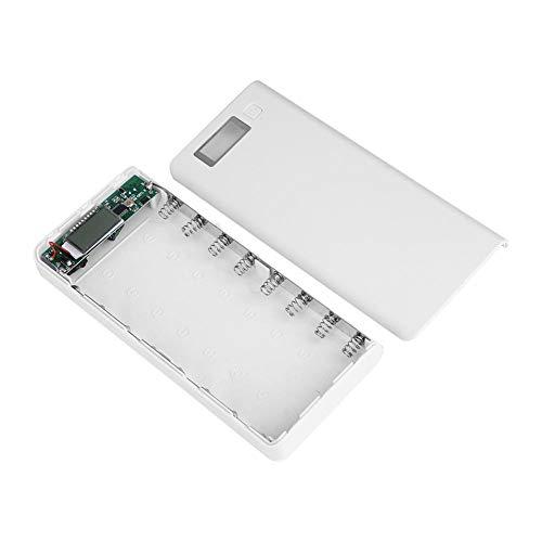 Zerone Caricabatteria Universale a 8 Slot per Batterie Ricaricabili agli ioni di Litio 18650 3.7 V con Porte USB e Display LCD(Bianco)