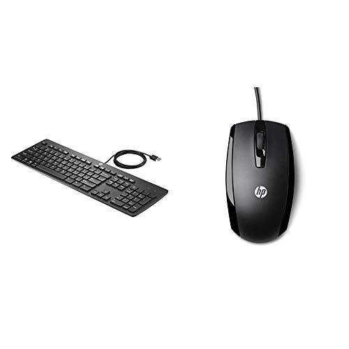 HP USB Business Slim Keyboard (DE) & X500 (E5E76AA) Optische Maus mit Kabel (3 Tasten, Scroll-Rad mit Klickfunktion, USB-Anschluss) schwarz -