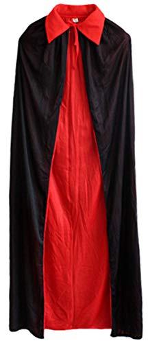Freitop Halloween Kostüm Umhang mit Stehkragen Damen Herren Vampir Kostüm Pirat mit Pirathut Schwert Haken Abendkleid Lang Geist Cape Schwarz Rot für Kinder Mädchen Rollenspiel Cosplay Party Karneval