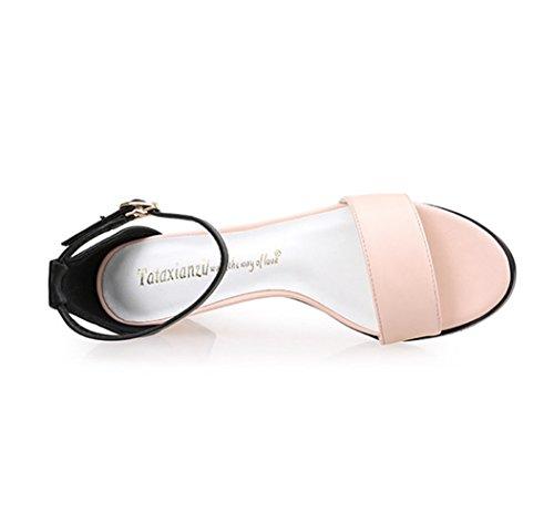 Damen Sandalen Schnalle Knöchelriemchen Gummi Sohle Anti-Rutsche Einfache Modische Bequeme Sandaletten Pink