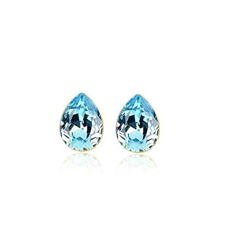 Boucles d'oreilles goutte cristal swarovski elements plaqué or Bleu turquoise