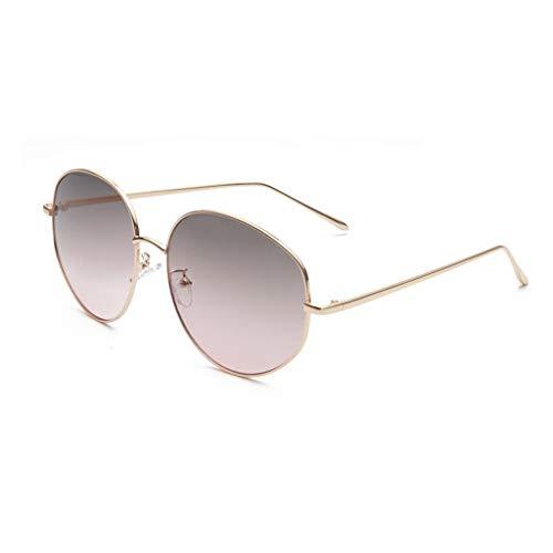 Sonnenbrille Metall großer Rahmen komfortabel und langlebig Dekoration im Freien Einkaufen Blendschutzbrille (Farbe: Goldrahmen grün rosa Linse)