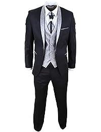 Costume Homme 4 pièces pour Mariage marié col châle Style Vintage Noir argenté Coupe ajustée