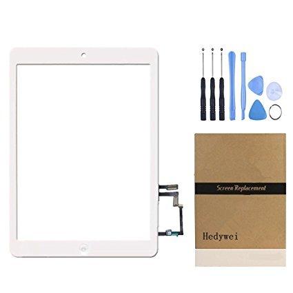 Ipad 5-screen-ersatz (Hedywei Ersatz Digitizer Touchscreen für iPad Air Ipad 5 Frontscheibe Anzeige mit Home Button / Klebeband und Werkzeuge Weiß)