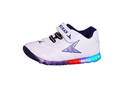 Fashion shoes Baby's Navy Blue Synthetic Leather LED Light Shoes, 0-6 Months