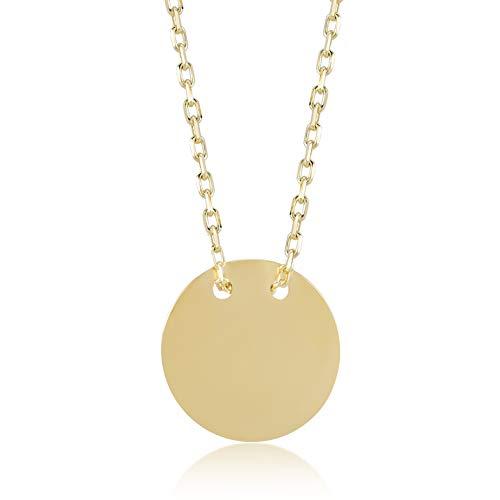 14 Karat - 585 Echt Gelbgold mit Runde Coin Kreis Platte als Anhänger Geschenk für Geburtstag Weihnachten- Kette 45 cm ()