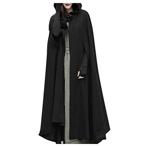 OIKAY Cape Cloak Mäntel Damen Strickjacke Jacke Trench Open Front Coat Poncho Plus Sweatshirt(Schwarz,EU-42/L)