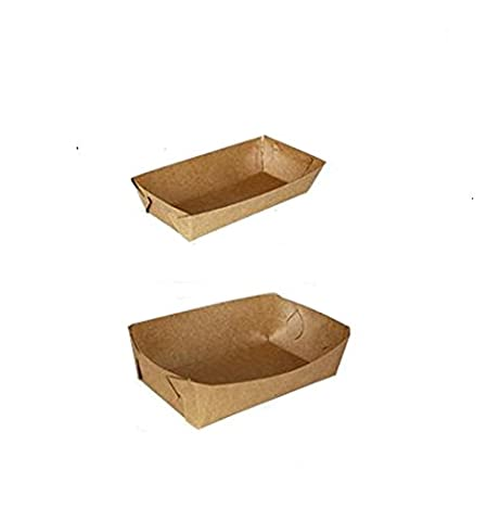 10 Pcs DIY Kraft Paper Disposable Food Tray Fish Chips Hot Corn Dogs Fried Chicken Paperboard Packaging Tray For Party Picnic (12x5x3cm)