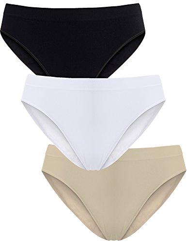 UnsichtBra Damen Slips Mehrpack - Frauen Unterwäsche | 3-er Set - Wohlfühl - Unterhosen (Schwarz,Weiss,Beige, L-XL)