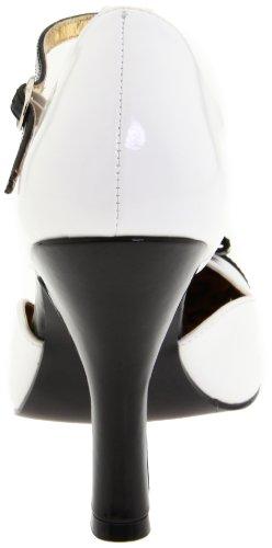 PleaserSmitten-10 - Scarpe con chiusura a T donna Bianco (Bianco (White/Black))