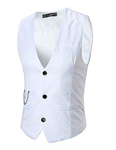 Boom Fashion Herren 3 Knopf Anzugweste Freizeit Business Casual Slim Fit Weste Einfarbig Mit V-Ausschnitt- Gr. L, Weiß (Drei-knopf-weste)
