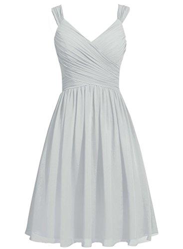 HUINI Frauen Straps V-Ausschnitt Kurze Chiffon Brautjungfer Kleider Prom Party Kleider mit Bowknot Sch?rpen Silber