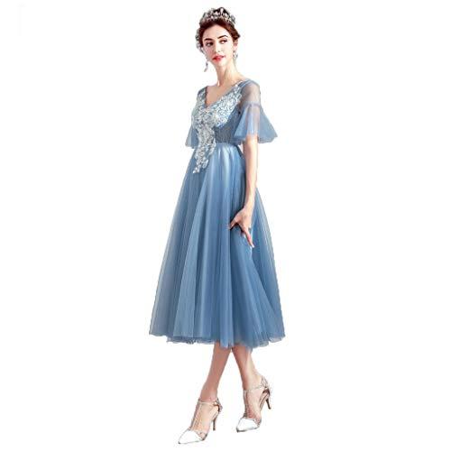 Jucaiyuan Abendkleid Weiblich, Blauer Spitzenrock, Cocktailkleid, (Farbe : Niebla Azul, Size : XXL) -