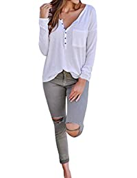 Luckycat Las Mujeres del otoño de Manga Larga O Cuello Bolsillos botón Pullover Camiseta Tops Blusa