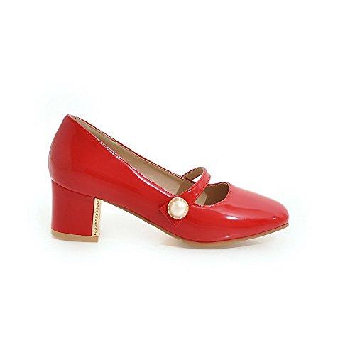 VogueZone009 Donna Pelle Di Maiale Tacco Medio Quedrata Puro Tirare Ballerine Rosso