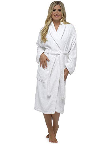 Robe De Dames Luxury Serviette Éponge 100% Coton Peignoir Robe De Chambre Perfect Cadeau Noël, Shawl White, S
