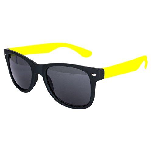 Ciffre EL-Sunprotect® Sonnenbrille Nerdbrille Brille Nerd Matt Gummiert Gelb Schwarz UV400