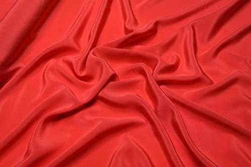 Escalano Crepe de Chine 100% Reine Seidenkleid Schal Nachtkleid Silk Stoff Uni (Rot) -