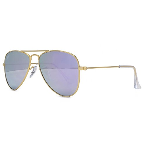 Ray-Ban Junior Aviator Sunglasses in Matte Gold Lilac Flash RJ9506S 249/4V 50