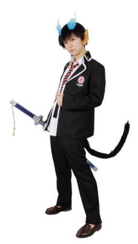 Exorcist positive cross school boys uniform size M spirit elf ears with cosplay costumes Okumura phosphorus blue (japan import)