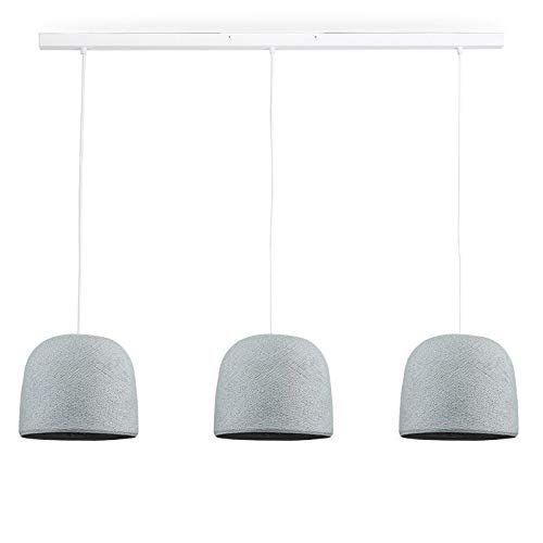 Rail Blanc 3 Cloches Gris Perle