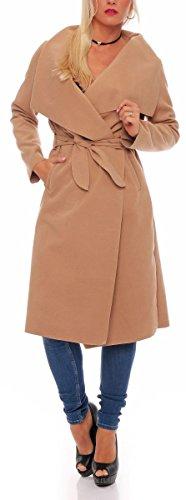 malito lungo Cappotti con Cascata-Design Gilet Giacca Bolero Pulsanti Cape Cardigan Oversize Maglione Casual Basic 3040 Donna Taglia Unica (camel)