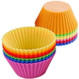 from sent 4 u ltd 12 pcs Silicone Cake Moulds Muffin Cupcake Bread Mousse, Jelly, Chocolate, Cake Case Mould Tins 6 Colour Cookware silicone Bakeware