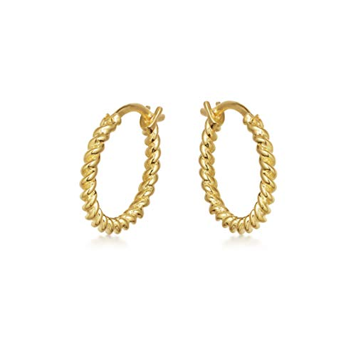 Ohrringe Silber Creolen. Ohrringe Gold aus 925 Sterling Silber mit 14K Weissgold oder Gold Plattierung. Handgearbeitete Ohrstecker, designed in Deutschland. (Gold) (14k Gold Vergoldet Ohrringe)