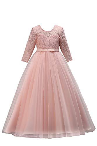 MisShow Kinde Langarm Abendkleid Tüll Prinzessin Blumenmädchenkleid mit Stickerei lang Rosa 170