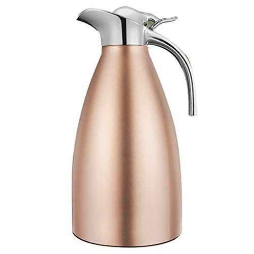 Trinkflaschen Thermoskannen, 304 Edelstahl Große Kapazität Thermos Kaffeekanne Home Outdoor Isolierung Kalt One-Button Gießen Von Wasser 2L M3 (Farbe : Champagner)