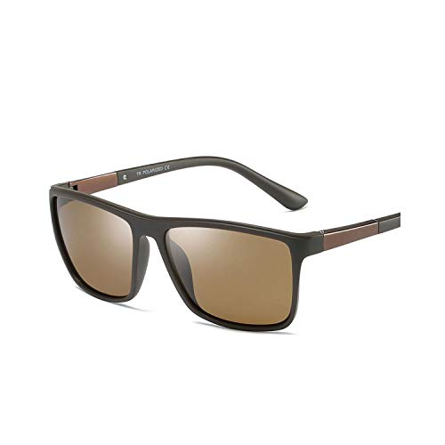 Sportbrillen, Angeln Golfbrille,Fashion Polarisiert Sunglasses Men Square Driving Sun Glasses For Men Polarisiert Uv400 NEW Black Brown as show in photo black
