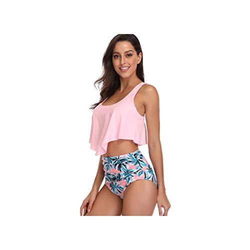 Woman Plus Size Swimwear High Waist S-3XL Bikini Big Women Bathing Suits Floral Vintage Female Sexy Bather Swimsuits Sky Blue XL