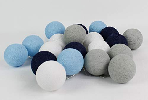 Cotton Ball Lights Sailor Blue 20 LED Lichterkette mit USB Anschluss, Baumwolle, White-Baby Stone-Steel -