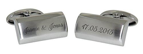 Design Manschettenknöpfe aus Edelstahl poliert und matt mit Ihrer Gravur Manschettenknopf Hochzeit Herren cuff link button