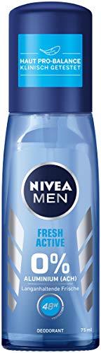 NIVEA MEN Fresh Active Deo Zerstäuber im 3er Pack (3 x 75ml), Deo ohne Aluminium mit wertvollen Meeresextrakten, Deodorant mit 48h Schutz pflegt die Haut