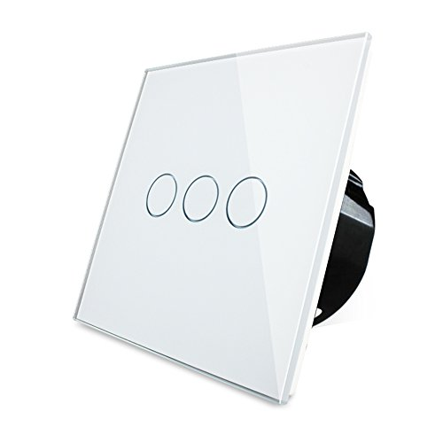 Wallpad Capacitive 1-200w 3 Gang 1 Way Ivory White Glass Touch Sensor Light Switch (4 Way Light Switch)