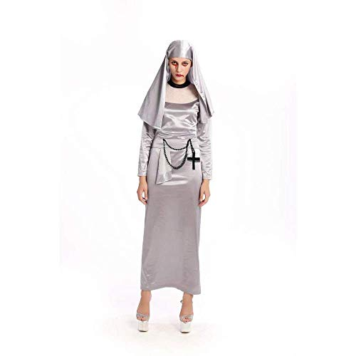 PIN Halloween Kostüme Frauen Halloween Zombie Cosplay Horror mit Blut Nonnen Priester Missionar Kostüm,M (Hoher Priester Zombie Kostüm)