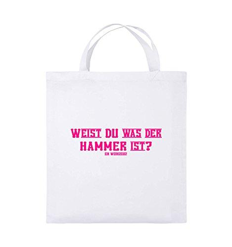 Comedy Bags - WEIST DU WAS DER HAMMER IST? - Jutebeutel - kurze Henkel - 38x42cm - Farbe: Schwarz / Pink Weiss / Pink