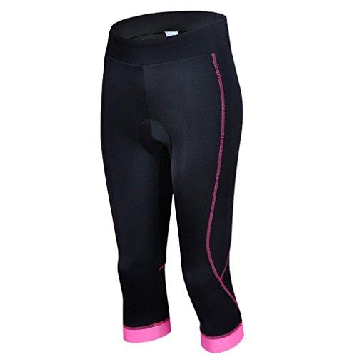 Panegy Damen Frauen Mädchen Radfahren Reiten GEL gepolsterte Shorts Fahrradbekleidung Capri Hose Strumpfhose Größe L - Pink