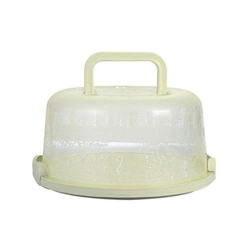 Singeru Kuchenbehälter rund mit Haube (Kuchentransportbox Ø 22 cm Deko Kuchenbox mit Deckel) Tortenplatte mit Griff 3 Farben (Grun)