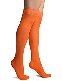 6fe8250204c Orange With Crocheted Stripes Knee High Socks - Orange Striped Socks