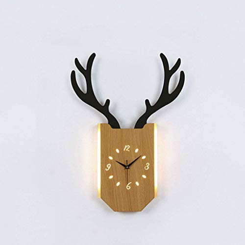 Wangde Manl Wall lamp Nordic LED Deer Head Clock Light Wood Remote Control Bed lamp Living Room Aisle Background Wall lamp (Color : Wood Color-Natural Light, Size : 18W) Remote-head