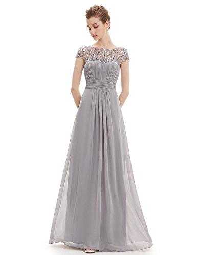 Ever Pretty Damen Lace Rueckseite Offen Kurzarme Chiffon Lange Abendkleider 09993 Grau