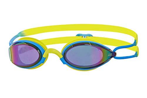 Zoggs Unisex– Erwachsene Podium Titanium Schwimmbrille, Blue/Lime/Mirror, One Size